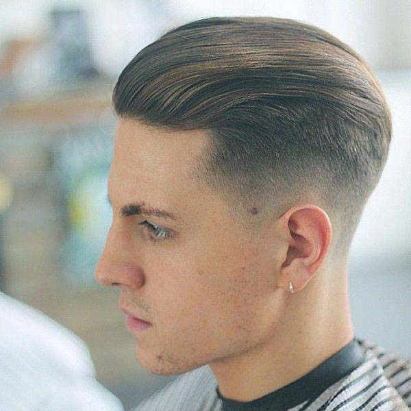 Classic Taper with Brushed Back Hair