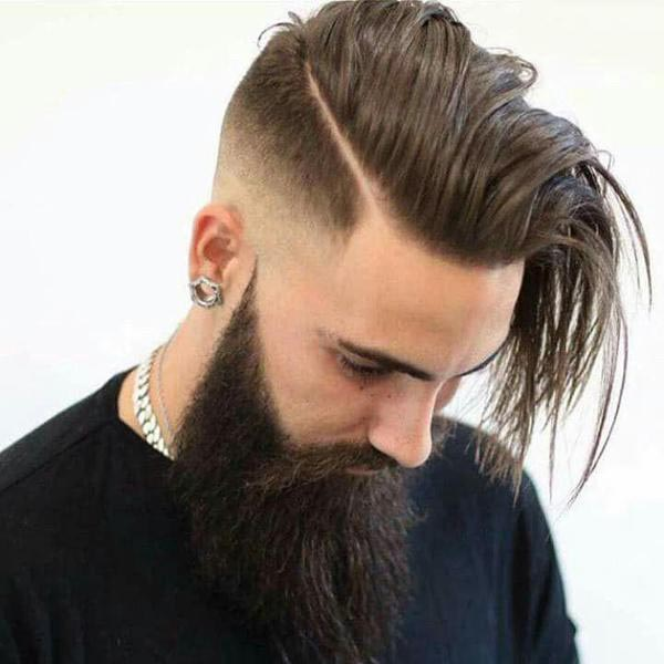 Long Comb over Taper with Beard