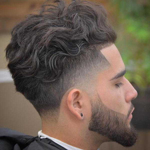 Long Curly Taper Fade Haircuts