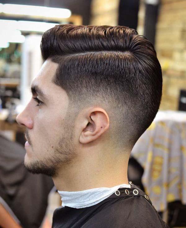 Side Part Pomp Medium Taper Haircut